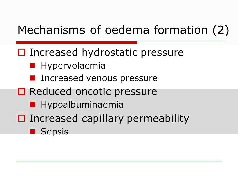 Mechanisms of oedema formation (2)