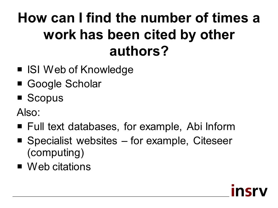 How can I find the number of times a work has been cited by other authors