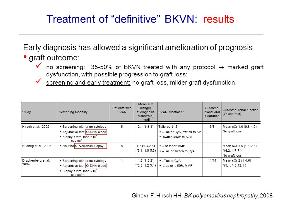 Treatment of definitive BKVN: results