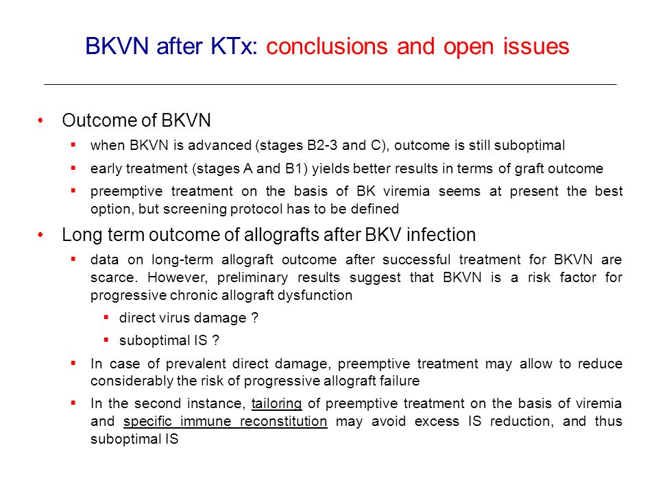 BKVN after KTx: conclusions and open issues
