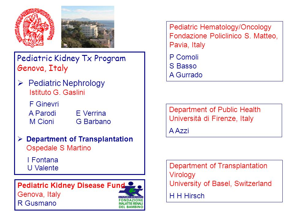 A Parodi E Verrina Pediatric Kidney Tx Program Genova, Italy