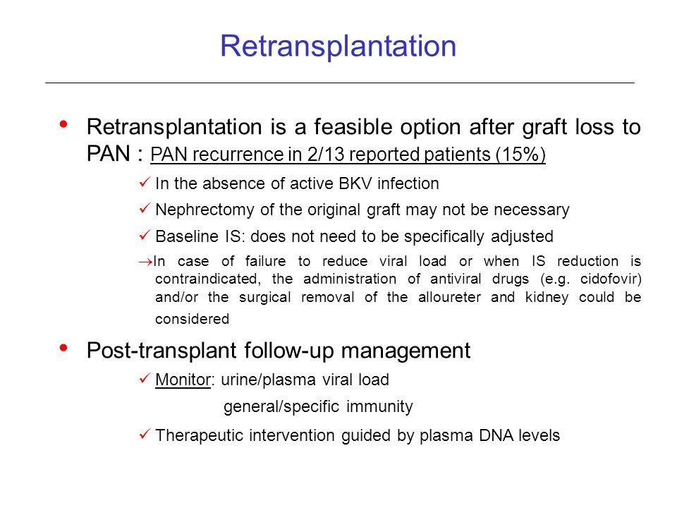 Retransplantation Retransplantation is a feasible option after graft loss to PAN : PAN recurrence in 2/13 reported patients (15%)