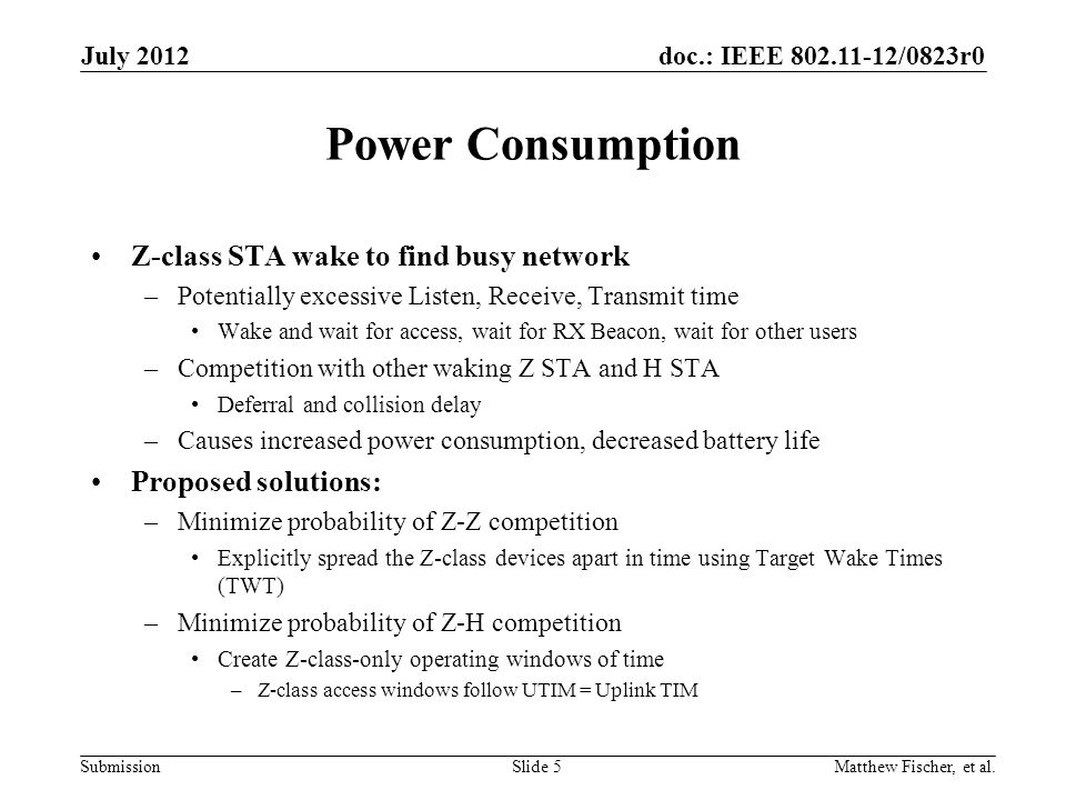 Power Consumption Z-class STA wake to find busy network