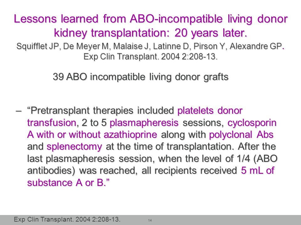 Lessons learned from ABO-incompatible living donor kidney transplantation: 20 years later. Squifflet JP, De Meyer M, Malaise J, Latinne D, Pirson Y, Alexandre GP. Exp Clin Transplant :