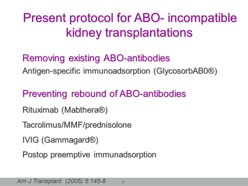 Present protocol for ABO- incompatible kidney transplantations
