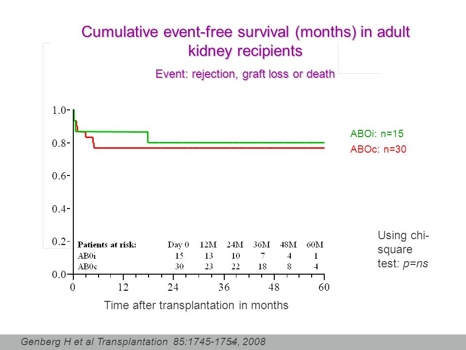 Cumulative event-free survival (months) in adult kidney recipients