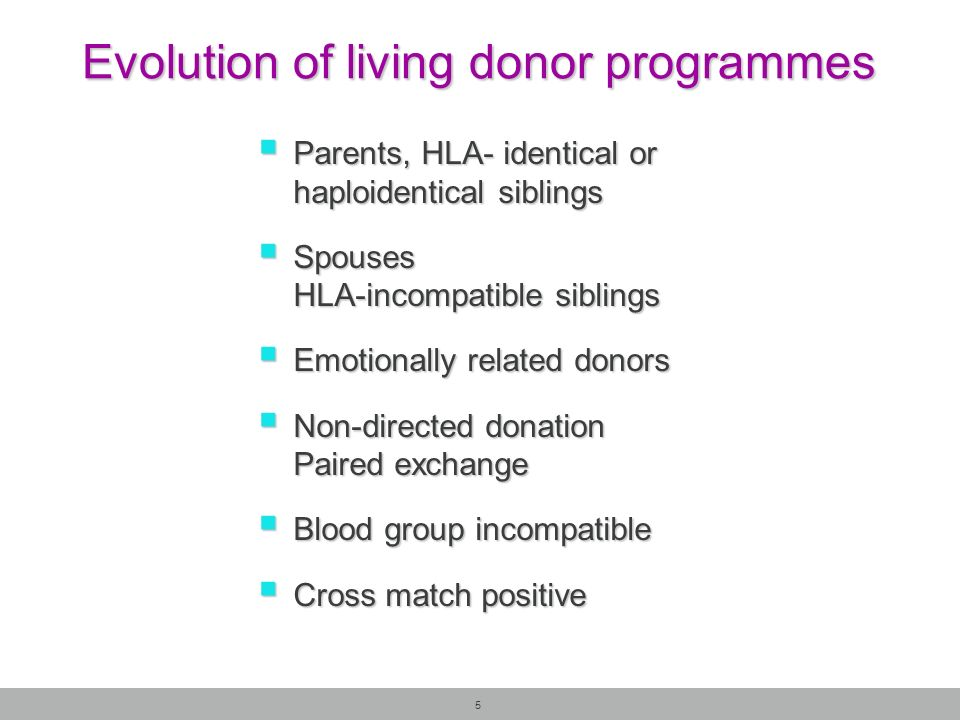Evolution of living donor programmes