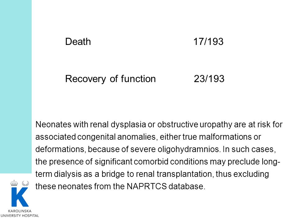 Death 17/193 Recovery of function 23/193