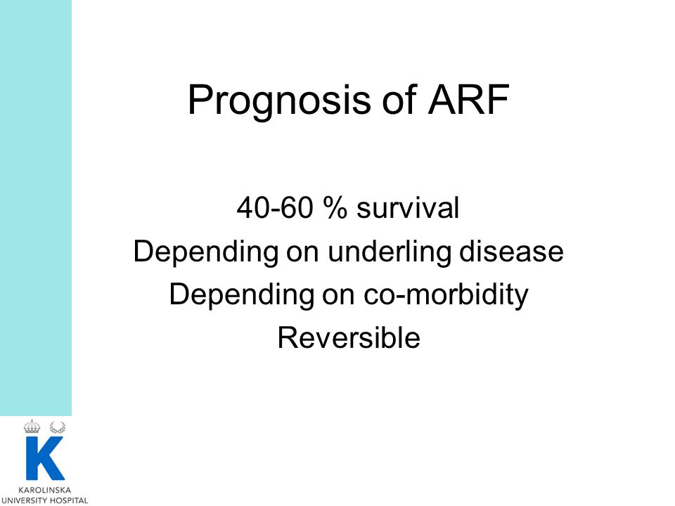 Prognosis of ARF 40-60 % survival Depending on underling disease