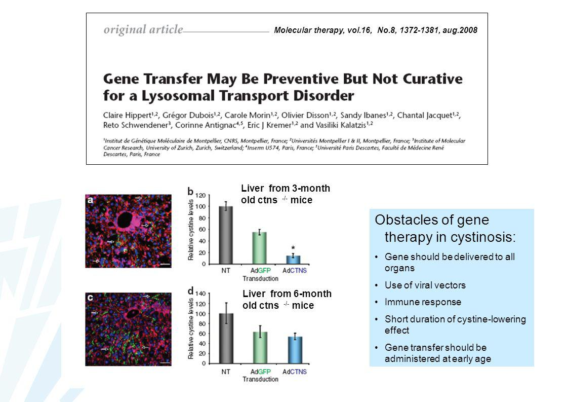 Obstacles of gene therapy in cystinosis: