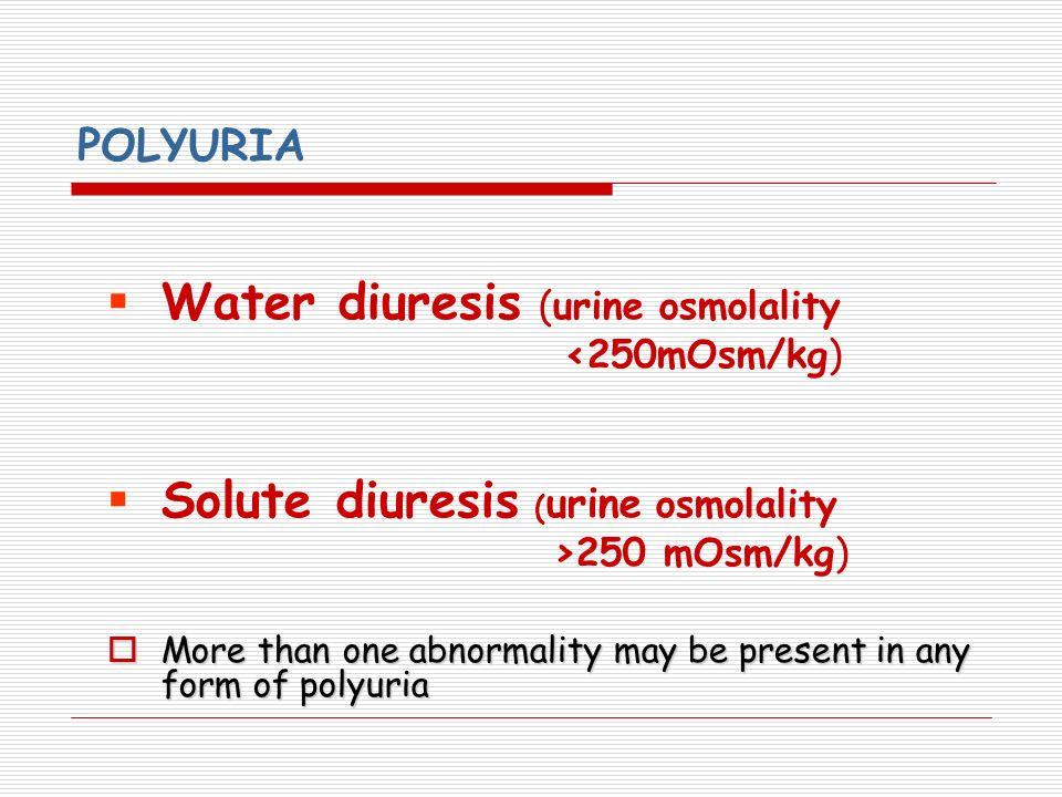 Water diuresis (urine osmolality