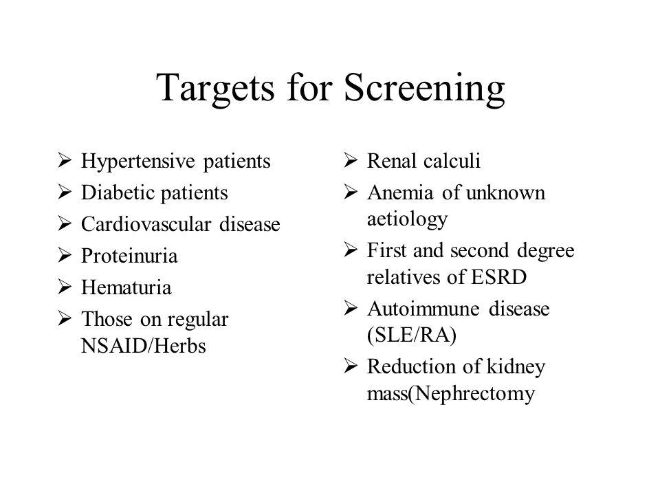 Targets for Screening Hypertensive patients Diabetic patients