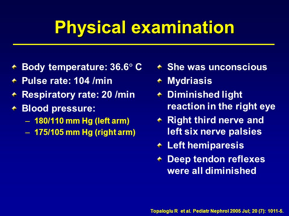 Physical examination Body temperature: 36.6 C Pulse rate: 104 /min