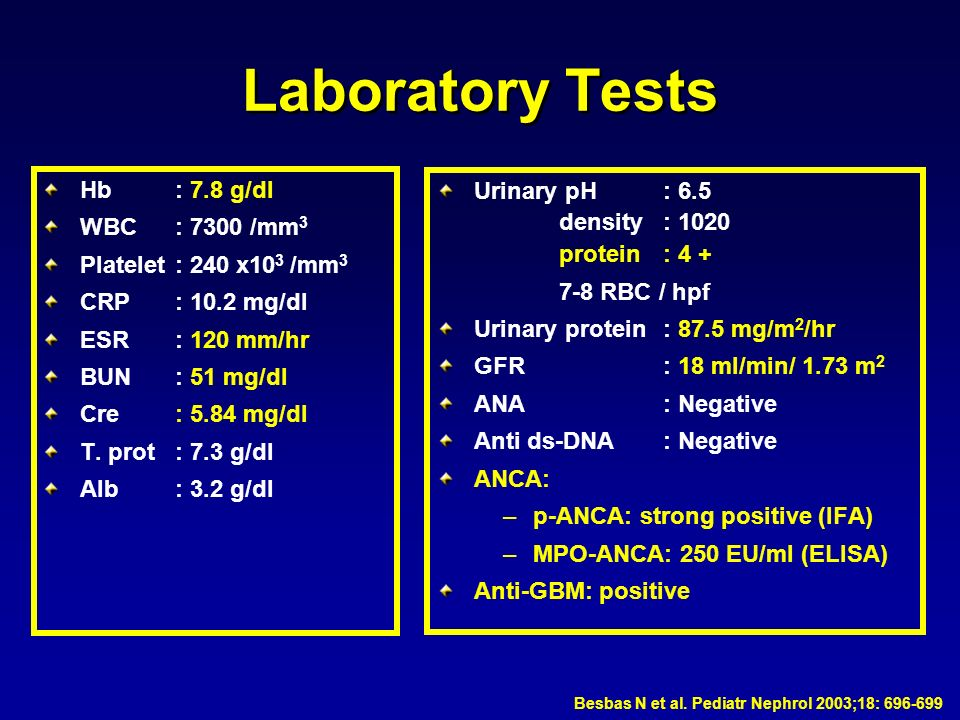 Laboratory Tests Hb : 7.8 g/dl