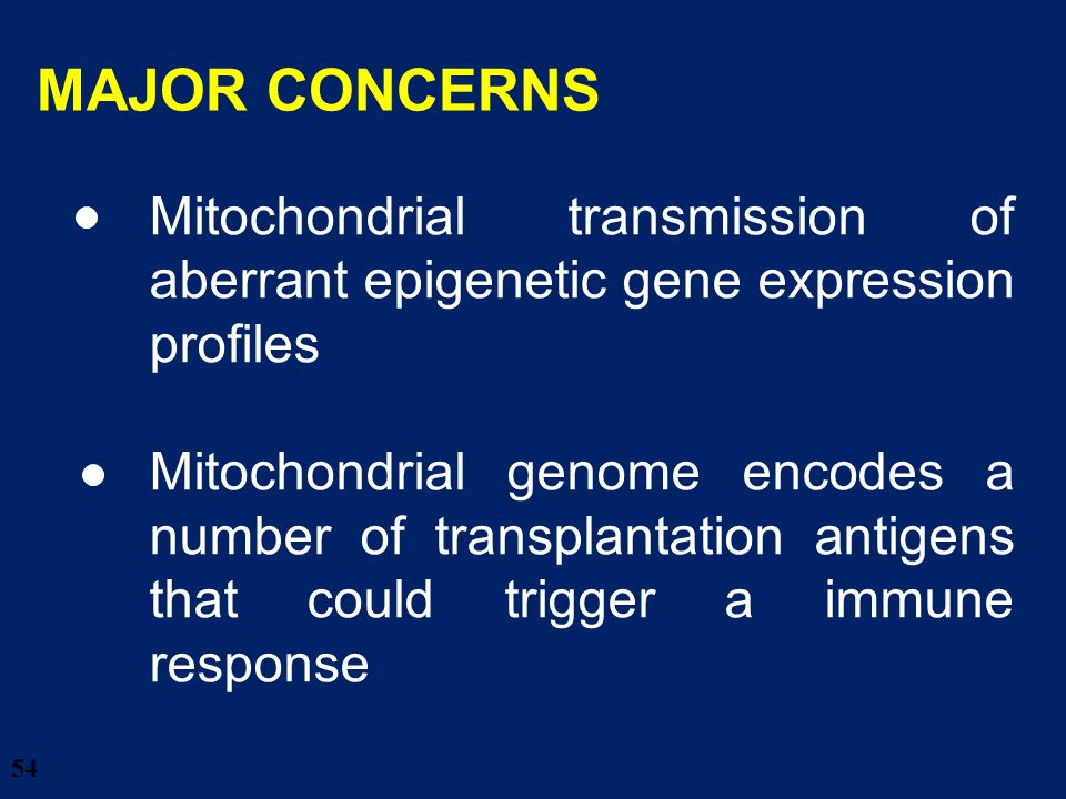 28/03/2017 MAJOR CONCERNS. Mitochondrial transmission of aberrant epigenetic gene expression profiles.