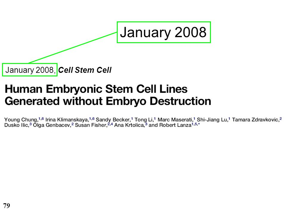 January 2008 January 2008, Cell Stem Cell 28/03/2017