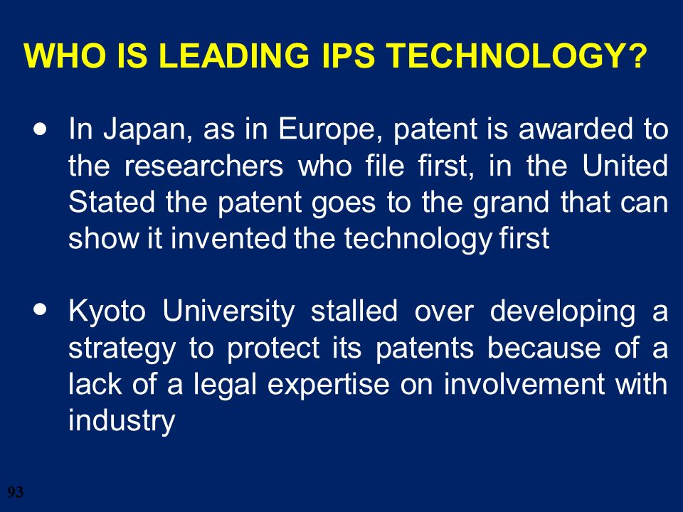 WHO IS LEADING IPS TECHNOLOGY