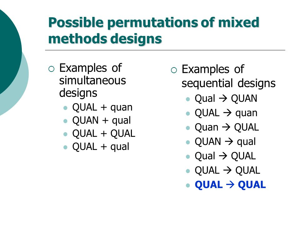 Possible permutations of mixed methods designs