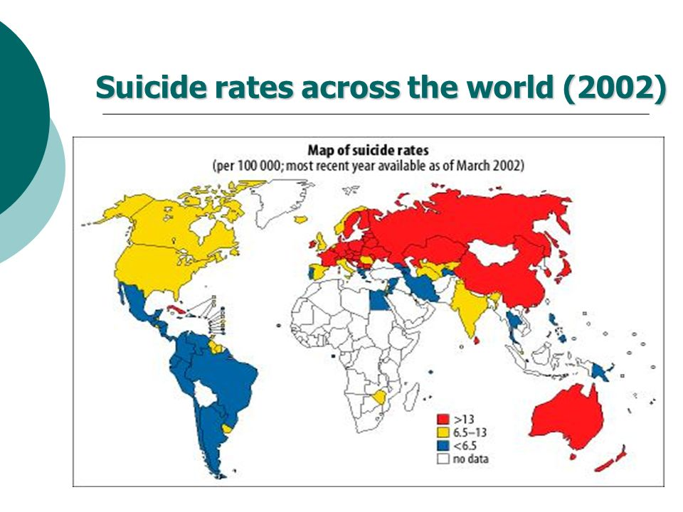 Suicide rates across the world (2002)