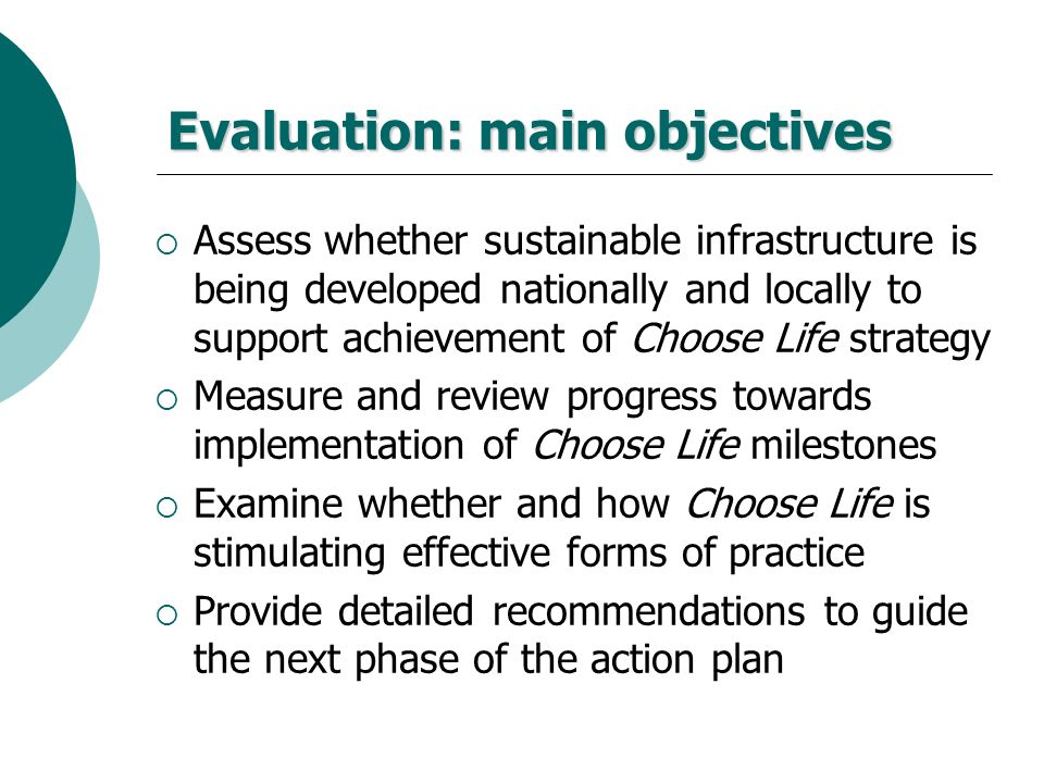 Evaluation: main objectives