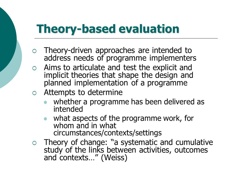 Theory-based evaluation