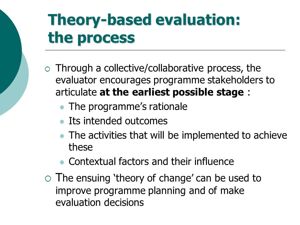 Theory-based evaluation: the process