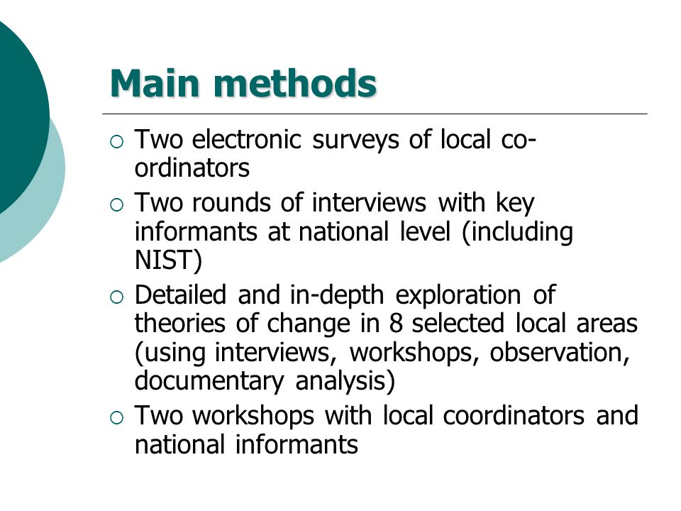 Main methods Two electronic surveys of local co-ordinators
