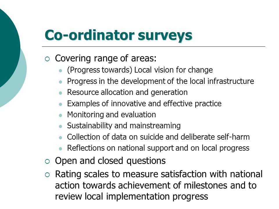 Co-ordinator surveys Covering range of areas: