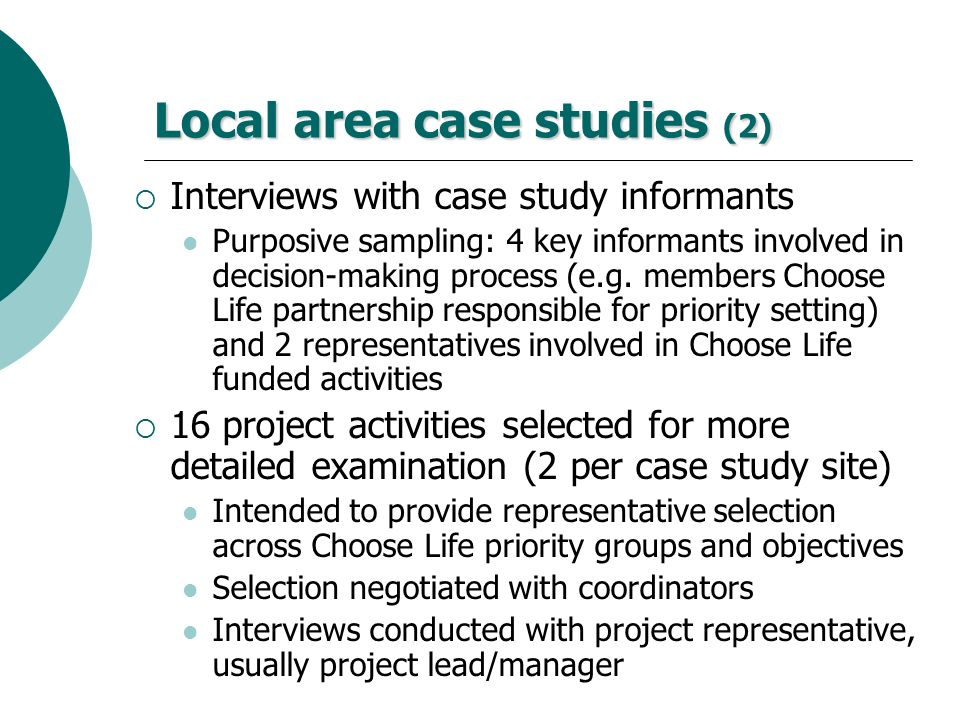 Local area case studies (2)
