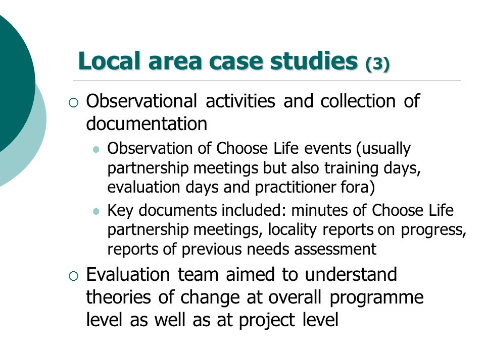 Local area case studies (3)
