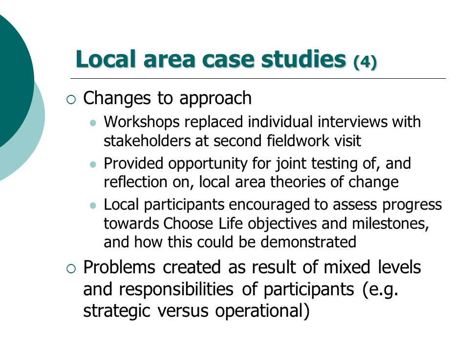 Local area case studies (4)