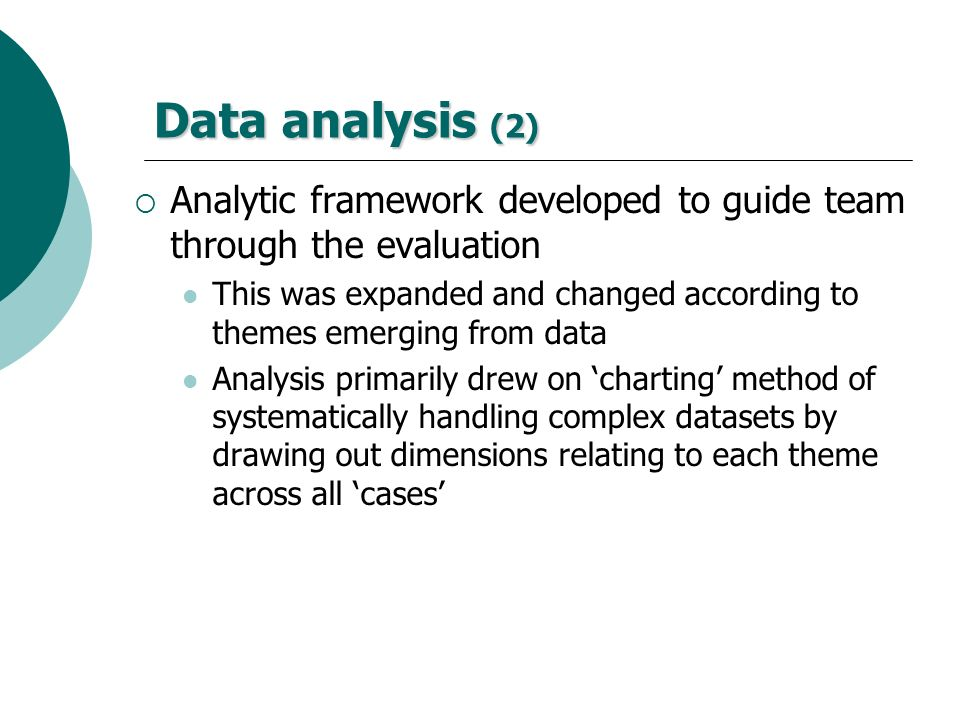 Data analysis (2) Analytic framework developed to guide team through the evaluation.