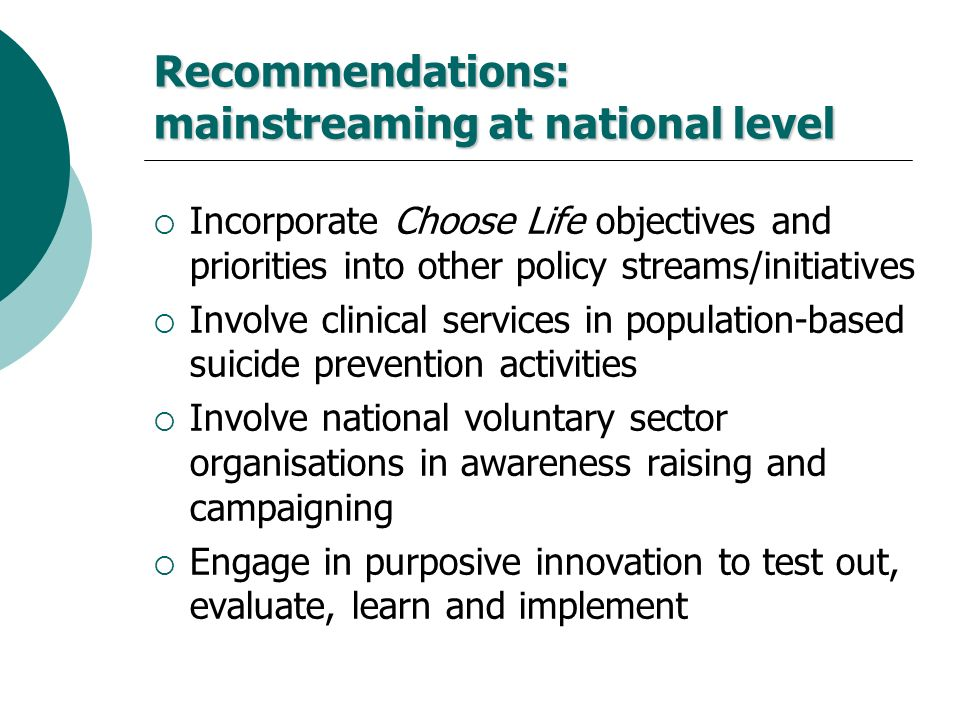 Recommendations: mainstreaming at national level