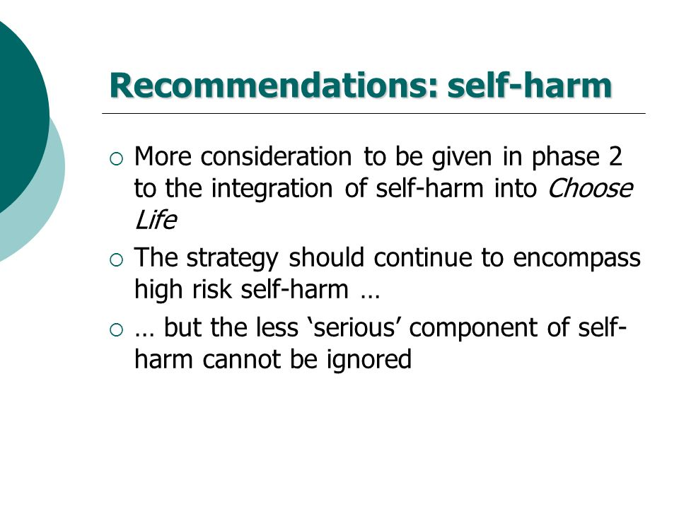 Recommendations: self-harm