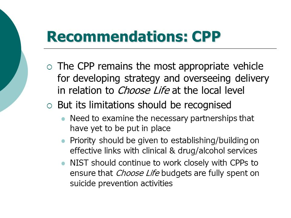 Recommendations: CPP
