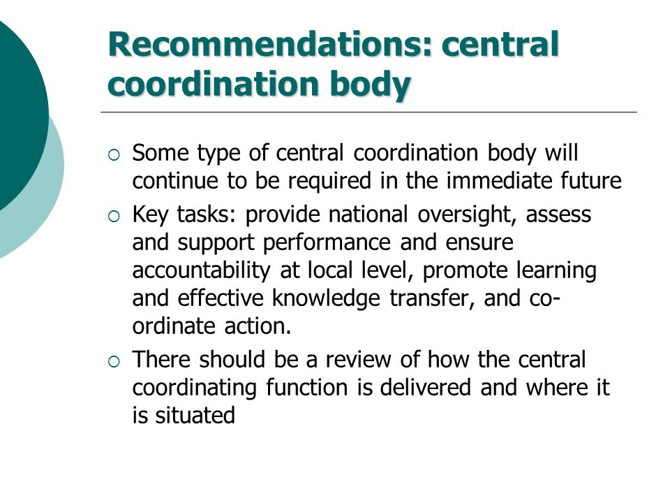 Recommendations: central coordination body