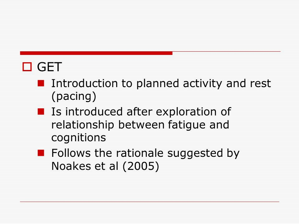 GET Introduction to planned activity and rest (pacing)