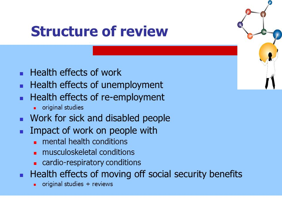Structure of review Health effects of work