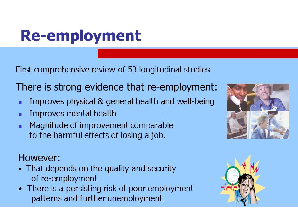 Re-employment There is strong evidence that re-employment: However: