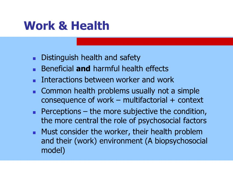 Work & Health Distinguish health and safety
