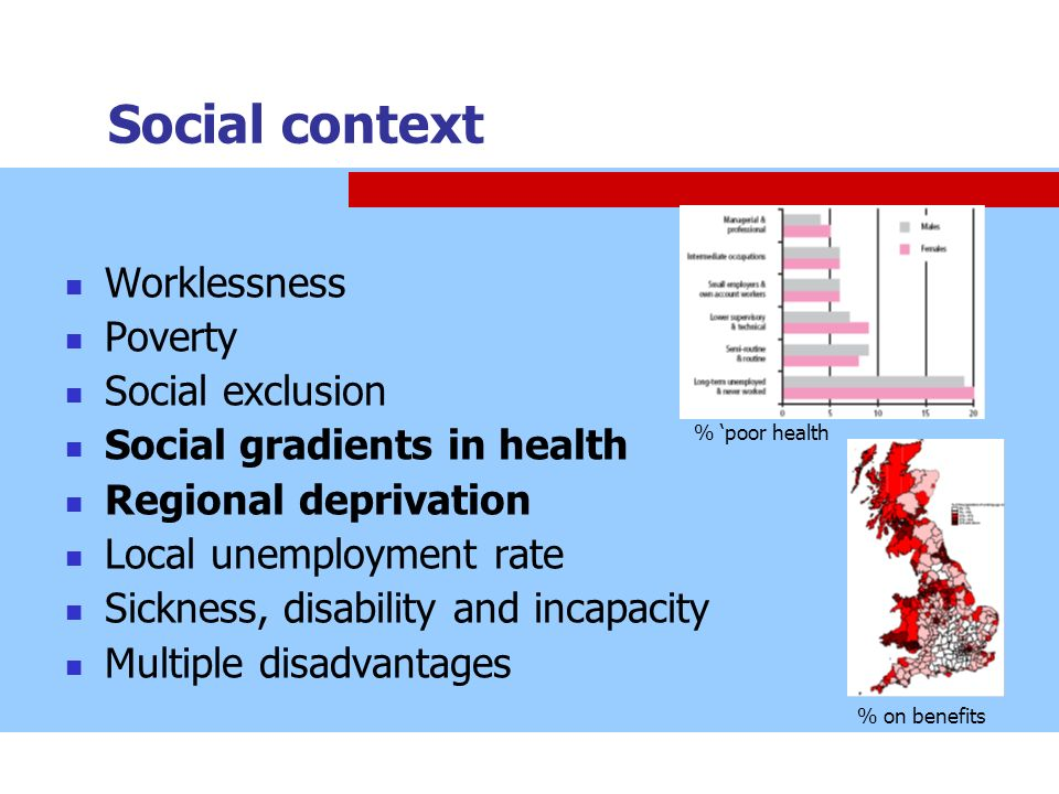 Social context Worklessness Poverty Social exclusion