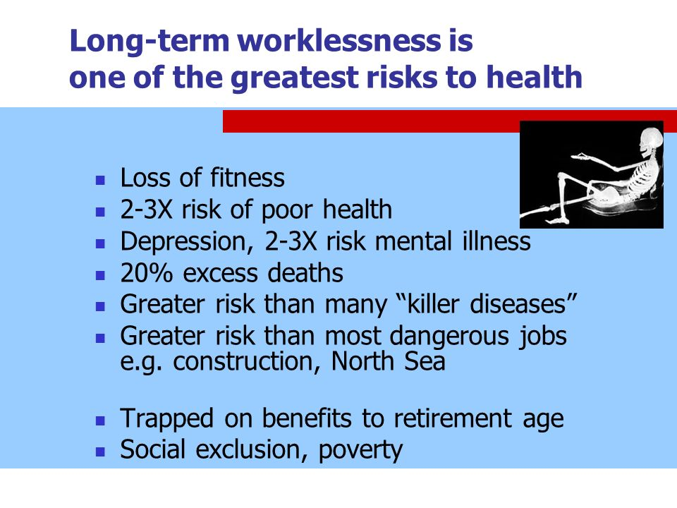 Long-term worklessness is one of the greatest risks to health