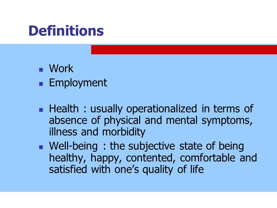 Definitions Work Employment