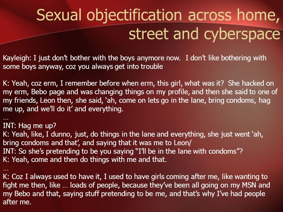 Sexual objectification across home, street and cyberspace