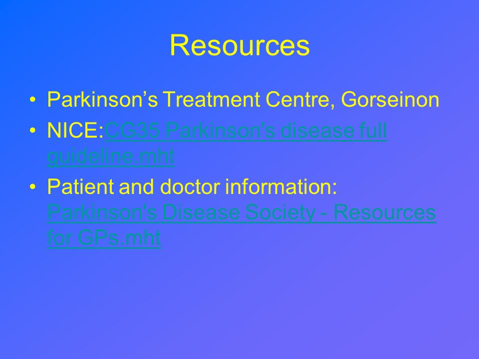 Resources Parkinson's Treatment Centre, Gorseinon