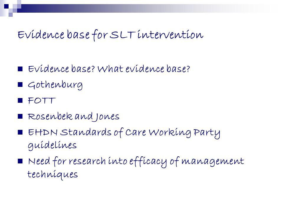 Evidence base for SLT intervention