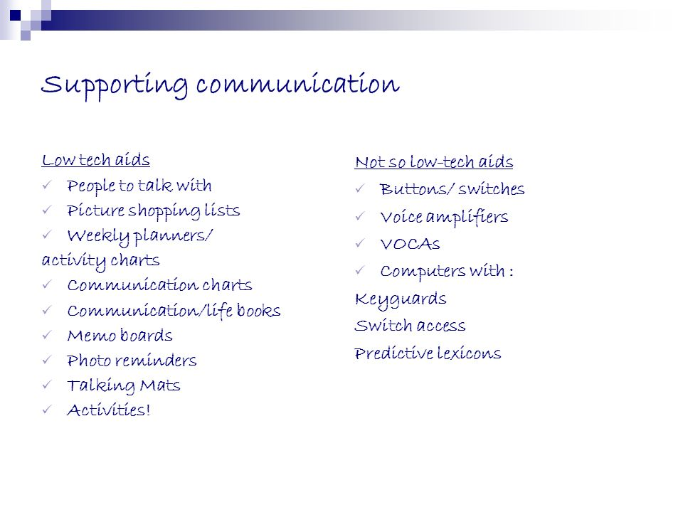 Supporting communication