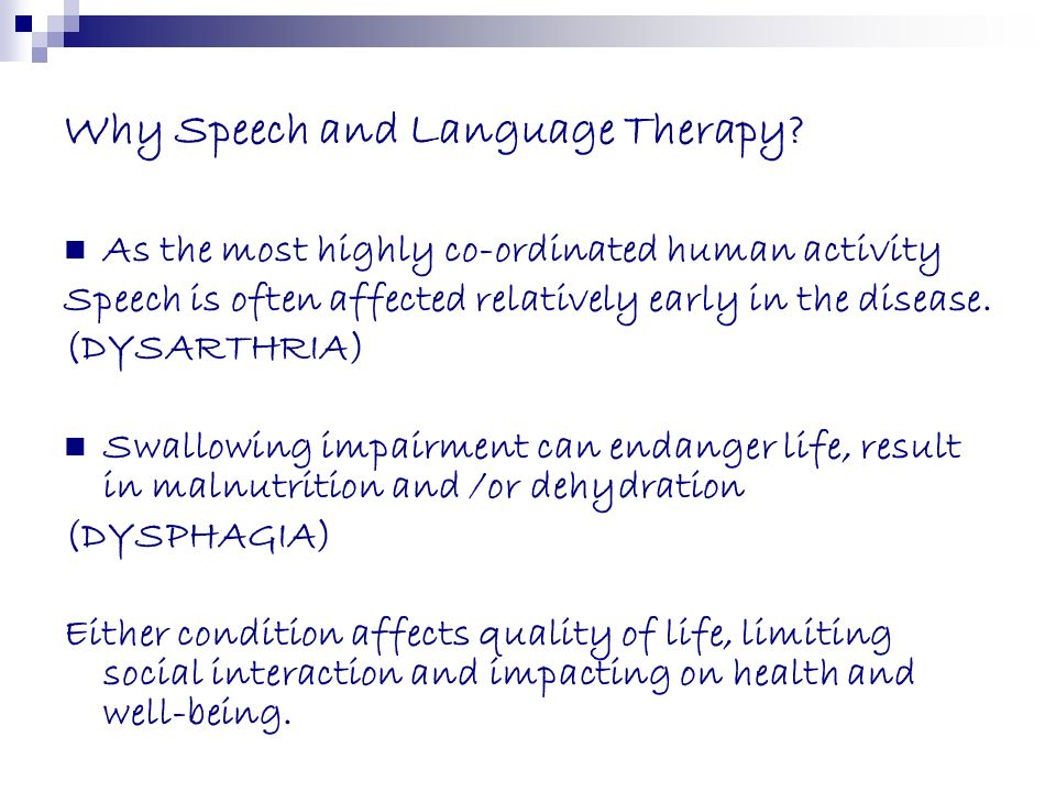 Why Speech and Language Therapy
