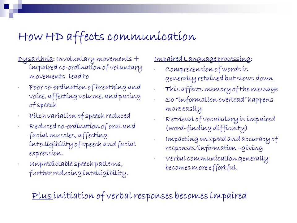 How HD affects communication