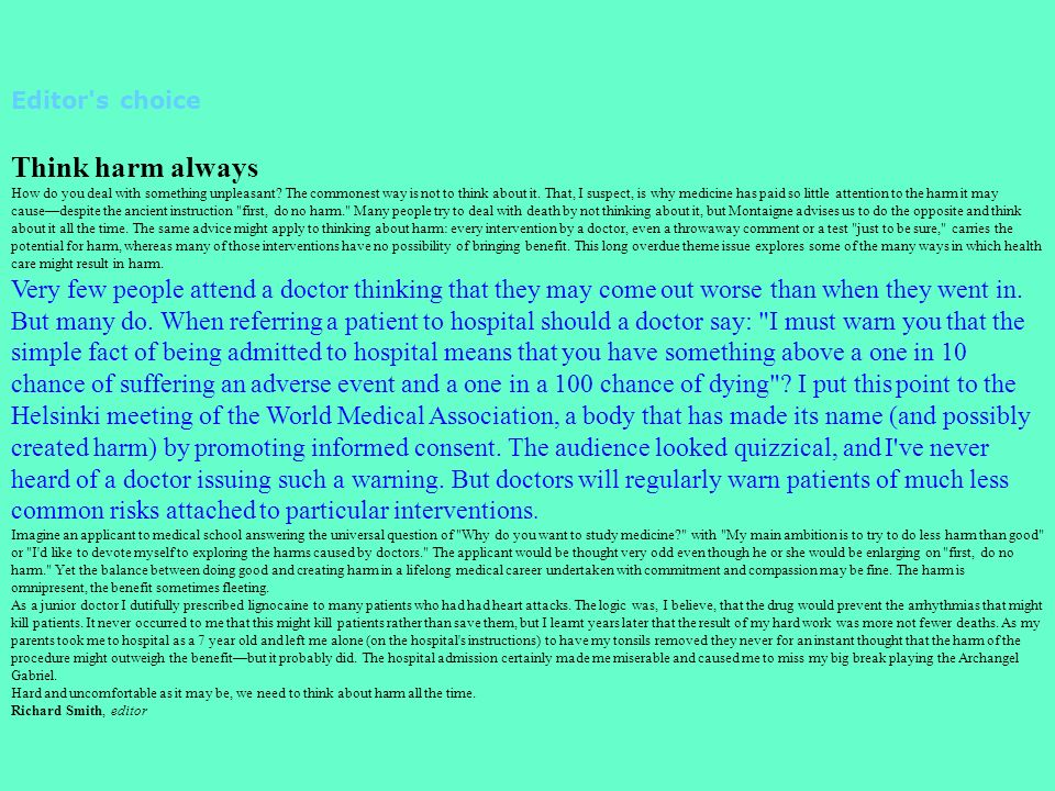 Editor s choice Think harm always.